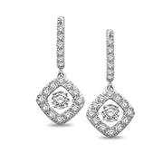 14K White Gold 5/8 Ct.Tw Moving Diamond Earrings