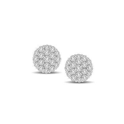 14K White Gold 1 Ct.Tw Diamond Flower Stud Earrings