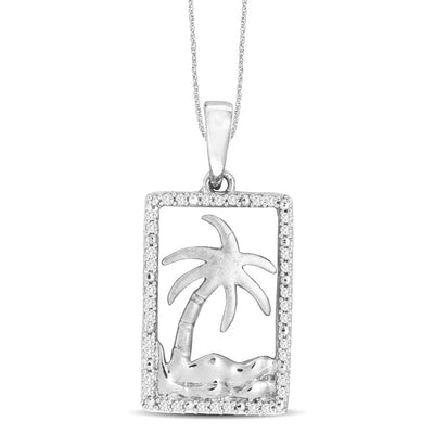 14K White Gold 0.1ctw diamonds pendant