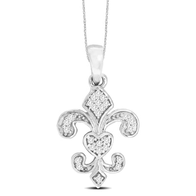 14K White Gold 0.05ctw diamonds pendant