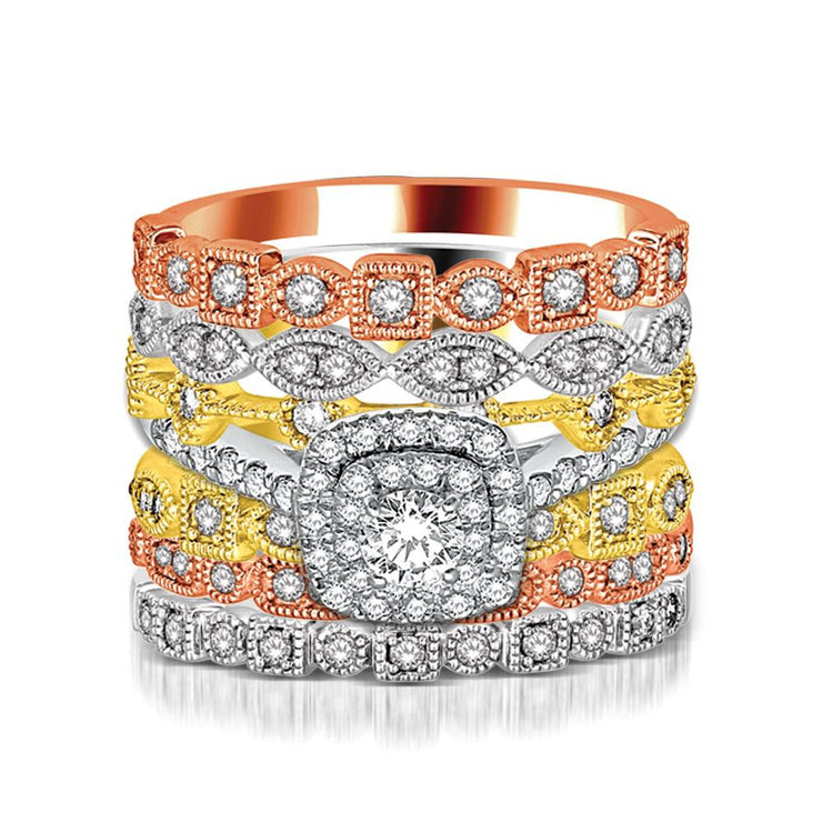 14K White Gold 0.06ctw Filigree Stackable Diamond Modern Band