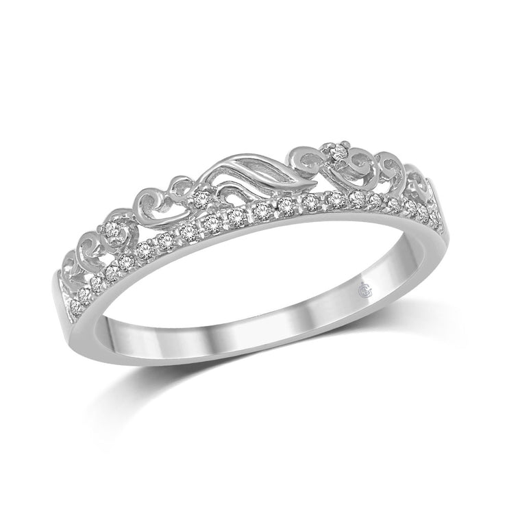 14K White Gold 1/20 Ct.Tw.Diamond Stackable Band