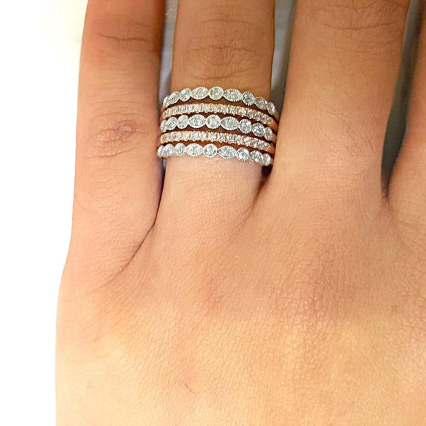 14K White Gold 1/4 Ct.Tw.Diamond Stackable Band