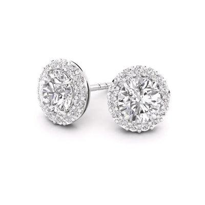 14 K Gold Round Halo 0.50 ctw Diamonds Stud Earrings