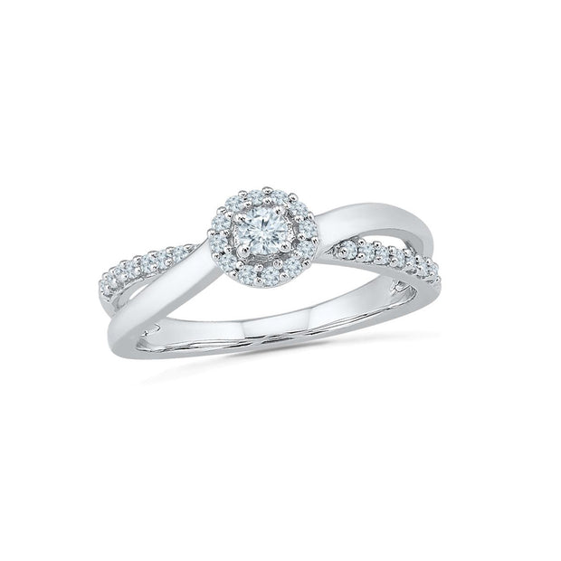 10K White Gold  0.25ctw  Fancy Diamond Ring