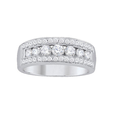 14-K-White-Gold-1.00-ctw-Round-Diamond-Fancy-Wide-Wedding-Band-Fame-Diamonds