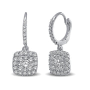 14K White Gold 1 Ctw Diamond Drop Earrings
