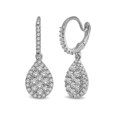 14K White Gold 3/4 Ctw Diamond Drop Earrings
