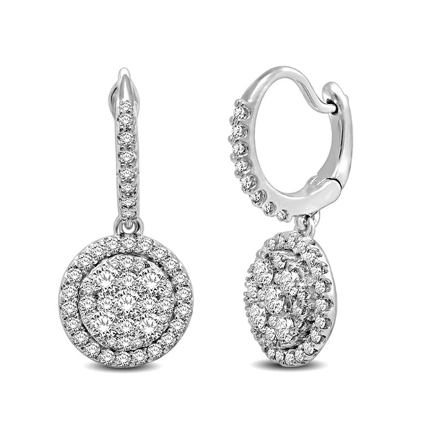 14K White Gold 1 1/10 Ctw Diamond Fashion Earrings