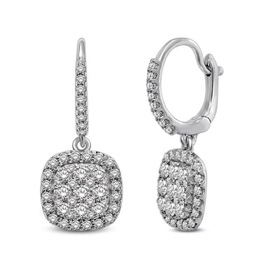 14K White Gold  1 1/6 Ctw Diamond Drop Earrings