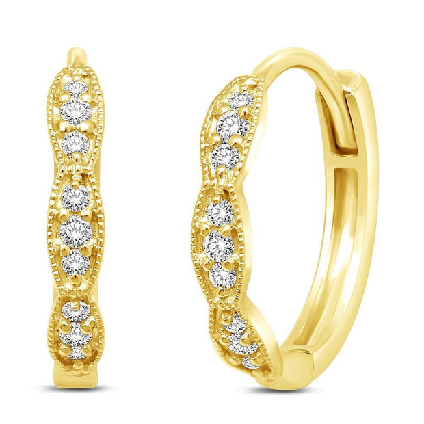14K White Gold 1/6 Ctw Round Diamond Stackable Hoop Earrings