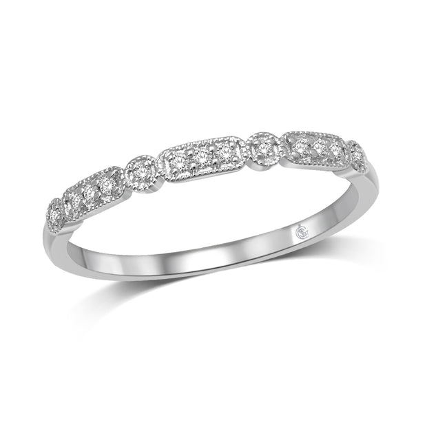 14K White Gold 1/20 Ct.Tw. Diamond Stackable Band