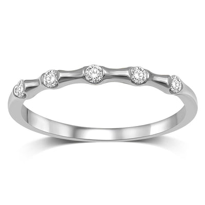 14K White Gold 1/8 Ct.Tw. Diamond Stackable Band