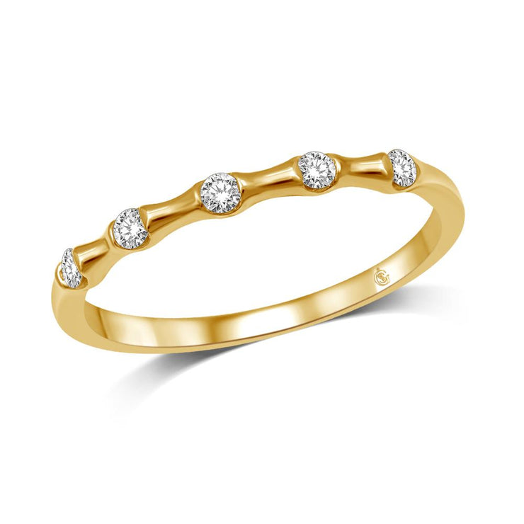 14K Yellow Gold 1/8 Ct.Tw. Diamond Stackable Band