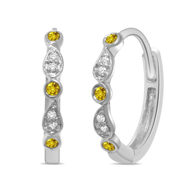 14K White Gold 0.12 Ctw. Diamond Hoop Earrings