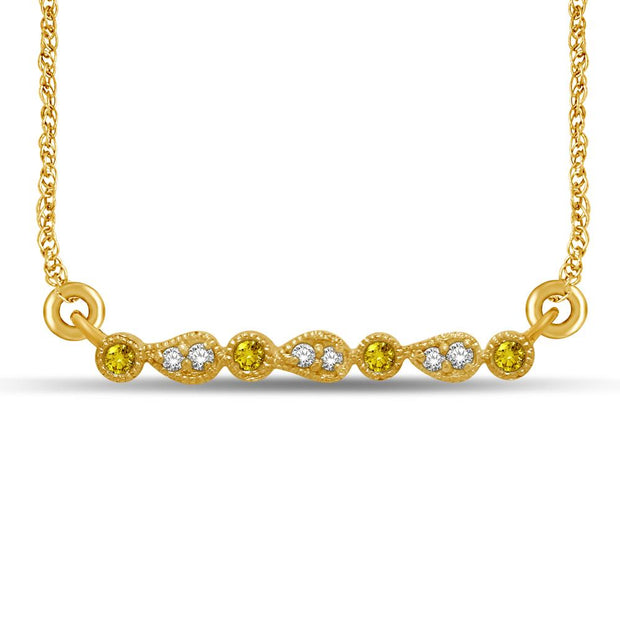 14K Yellow Gold 1/10 Ct.Tw. Diamond  Stackable Necklace