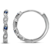14K White Gold 0.08 Ctw. Diamond Hoop Earrings