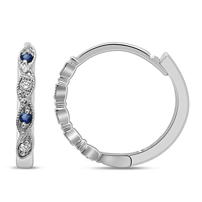 14K White Gold 0.07 Ctw. Diamond Hoop Earrings