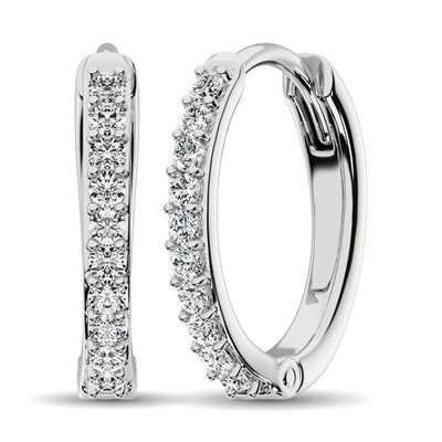 10K White Gold 1/3 Ctw Diamond Hoop Earrrings