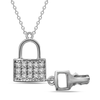 10K White Gold 0.2ctw diamonds pendant