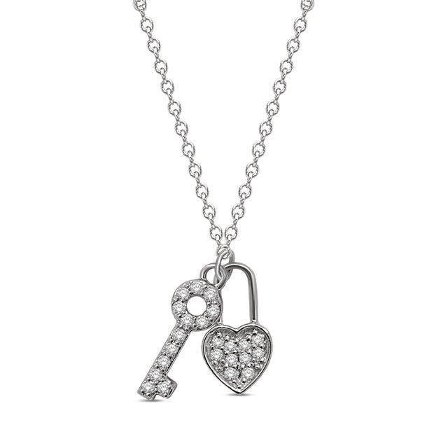 10K White Gold 0.12ctw diamonds pendant