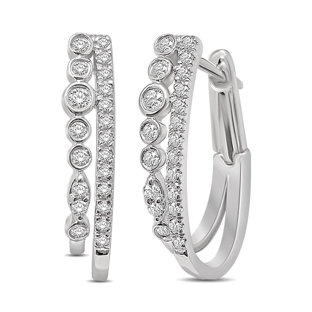 14K White Gold 0.25 Ctw. Diamond Hoop Earrings