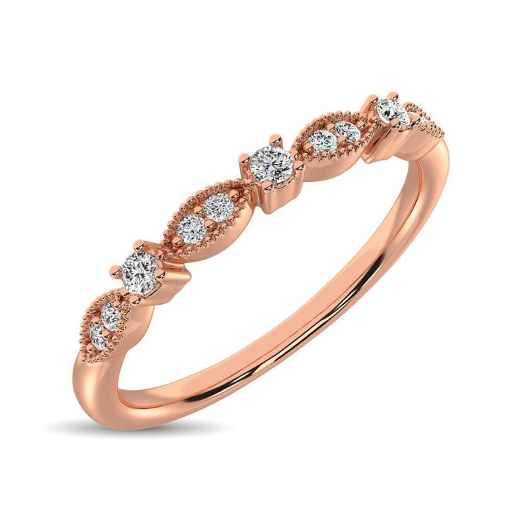 14K Rose Gold 1/10 Ct.Tw.Diamond Stackable Band