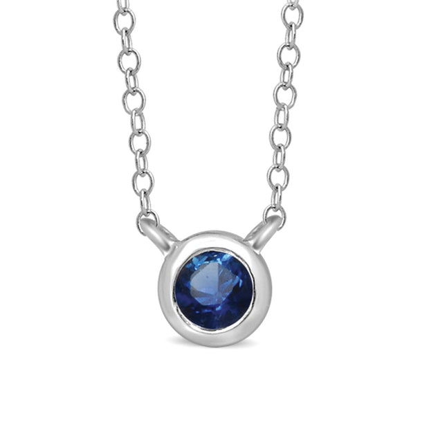 10K White Gold 1/10 Ctw Round Blue Sapphire Necklace