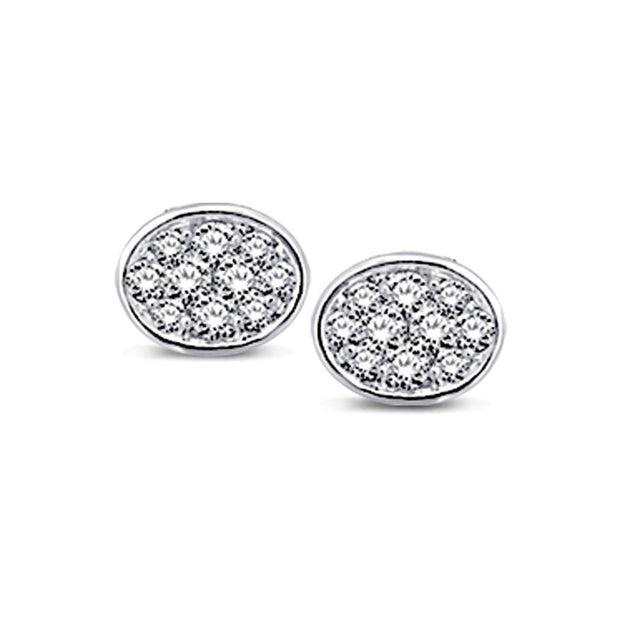 14K White Gold 1/5 Ctw Diamond Oval Shape Flower Stud Earrings