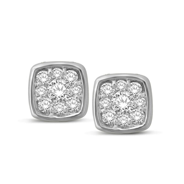 14K White Gold 1/5 Ctw Diamond Square Flower Earrings