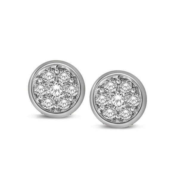 14K White Gold 1/5 Ctw Diamond Round Flower Earrings