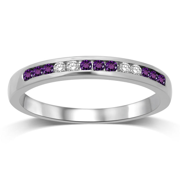 14K WHITE GOLD ROUND CUT AMETHYST AND DIAMOND MACHINE CHANNEL BAND RING