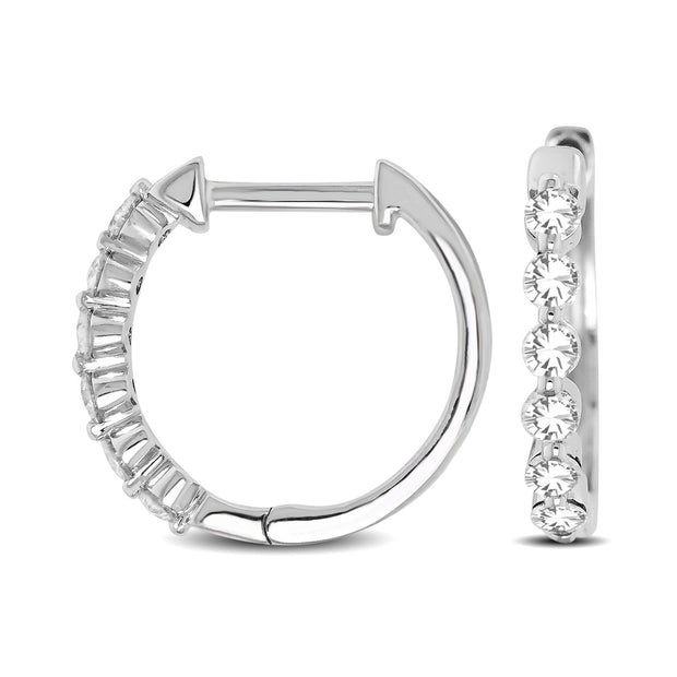14K White Gold 1/4 Ctw Diamond Hoop Earrings