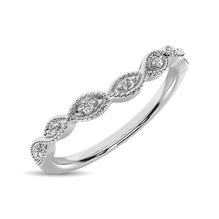 10K White Gold 1/20 Ctw Diamond Stackable Ring