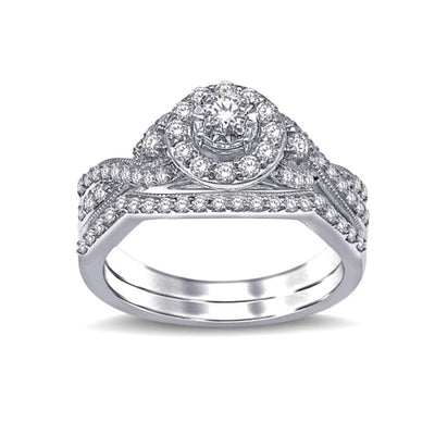 10K White Gold 3/4 Ct. Tw. Cluster Diamond Bridal Ring For Every Style