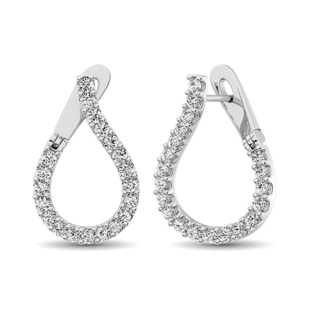14K White Gold Diamond 5/8 Ct.Tw. Hoop Earrings