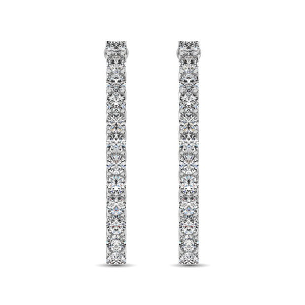14K White Gold Diamond 3/4 Ct.Tw. In and Out Hoop Earrings