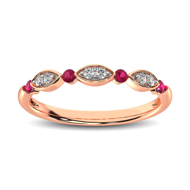 Diamond 1/5 ctw and Ruby Stack Ring in 10K Rose Gold