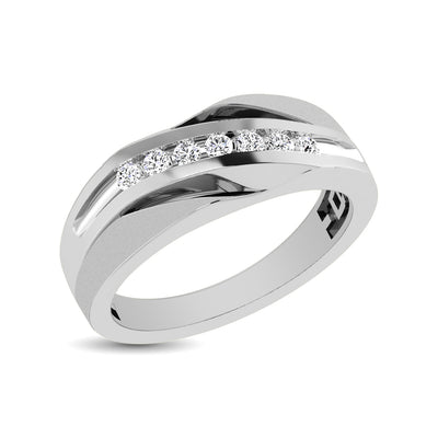 10K White Gold 1/10 Ct.Tw. Diamond Seven Stone Mens Band