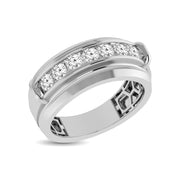 10K White Gold 1/4 Ctw Round Cut Diamond Mens Wedding Band