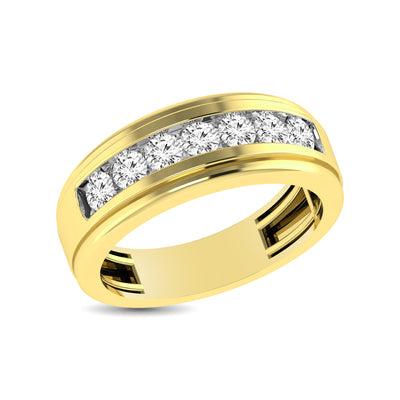 10K Yellow Gold 1 Ct.Tw. Diamond Satin Finish Mens Band