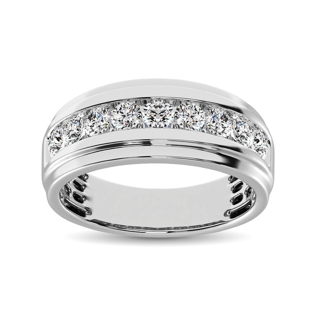 10K White Gold 1/2 Ct.Tw. Diamond Satin Finish Mens Band