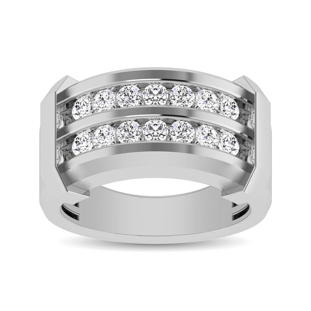 10K White Gold 1/5 Ctw Round Cut Diamond Mens Wedding Band