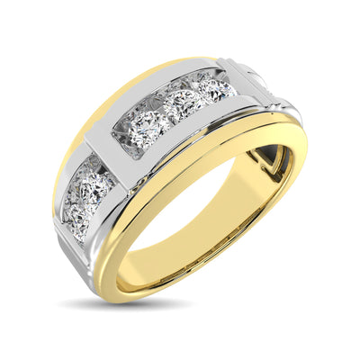 10K Two Tone Gold Diamond 1/4 Ctw 7 Stone Mens Band