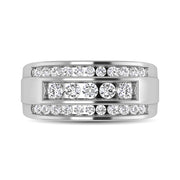 10K White Gold 1/2 Ctw Round Cut Diamond Mens Wedding Ring