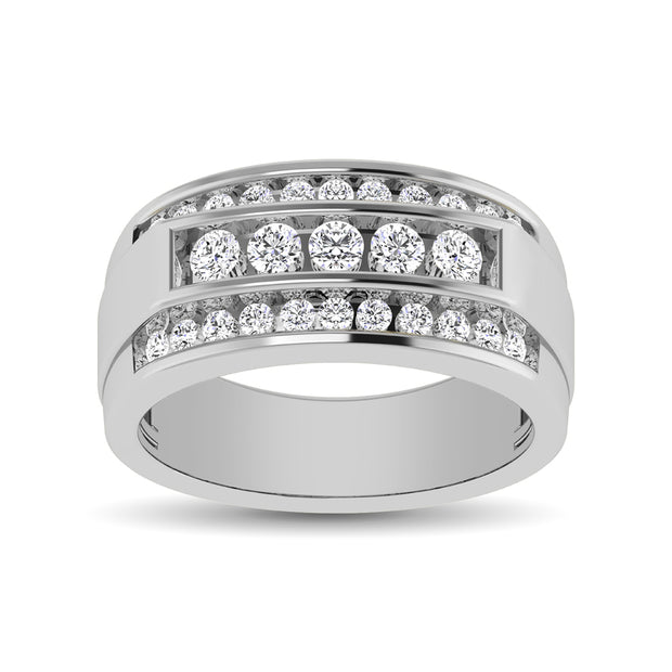 10K White Gold 1/2 Ctw Round Cut Diamond Mens Wedding Band