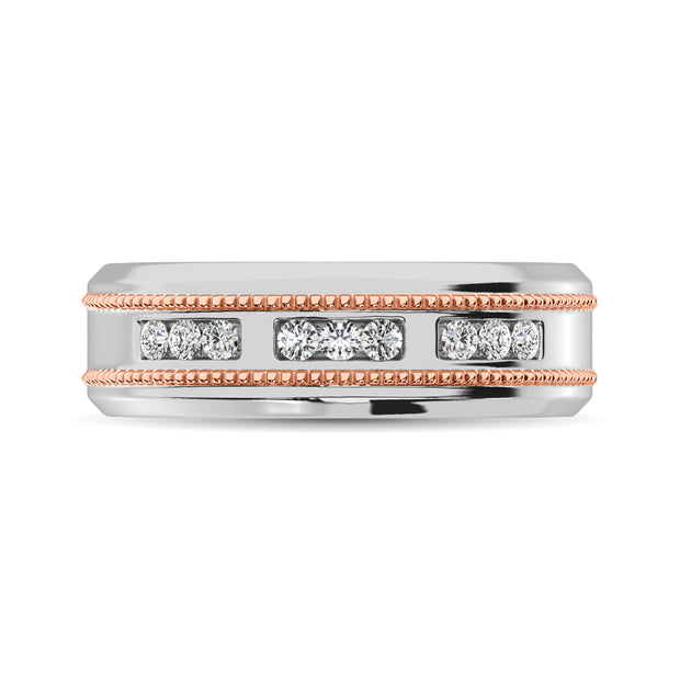 10K White Gold 1/4 Ct.Tw. Diamond Milgrain finish Mens Band