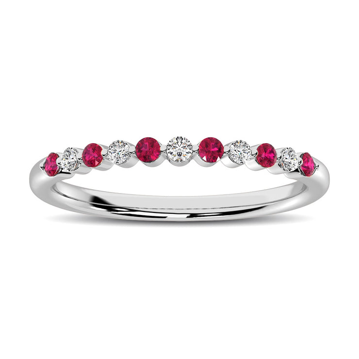 14K White Gold Alternate Diamond 1/4 Ctw and Ruby Ring