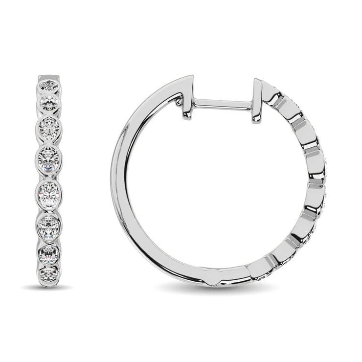 14K White Gold 1/3 Ct.Tw. Diamond Hoop Earrings