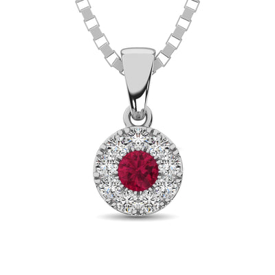 14K White Gold Diamond 1/4 Ct.Tw. and Ruby Pendant